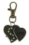 Ключодържател часовник отварящ метал цвят античен бронз кристали 70 мм сърца