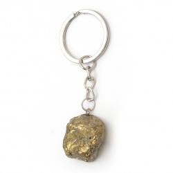 Μπρελόκ μεταλλικό ημιπολύτιμη πέτρα 86 ~ 98 mm διάφορα χρώματα