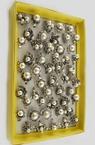Пръстен метал антично сребро кристали перли 17~20 мм