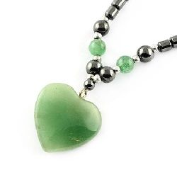 Гердан естествен камък ХЕМАТИТ немагнитен с висулка АХАТ сърце -21±24 см