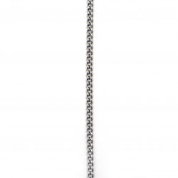 Necklace stainless steel color silver 5 mm 30 cm