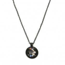 Гердан метал със стъклена висулка ВСЕЛЕНА цвят инокс ~45 см