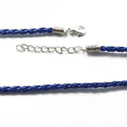 Гердан кожа 420x3 мм със закопчалка тип щъркел плитка син тъмно