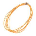 Гердан шнур памук Корея 1 мм 48 см оранжев със сребърна закопчалка