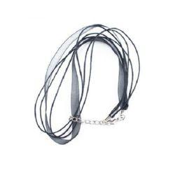 Necklace ribbon Organza cotton cord 3 rows black