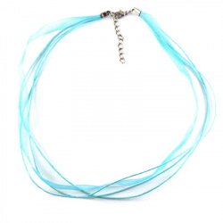 Гердан лента Органза шнур памук 3 реда синьо небесно