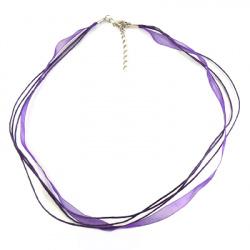 Necklace ribbon Organza cotton cord 3 rows purple