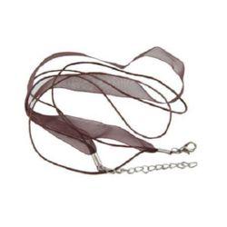 Necklace ribbon Organza cotton cord 2 rows brown
