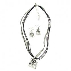Комплект гердан обеци метал текстил малък цвят сребро