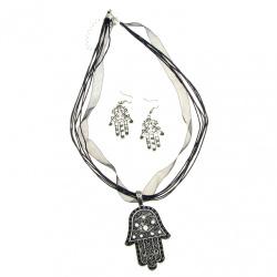 Комплект гердан обеци метал текстил кристали голям цвят сребро
