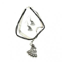 Комплект гердан обеци метал текстил голям цвят сребро