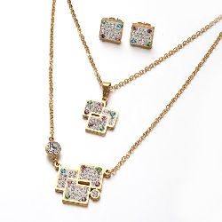 Комплект гердан обеци неръждаема стомана кристали Fimo цвят злато