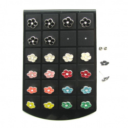 Обеци метал цветни с кристал цвете 11 мм