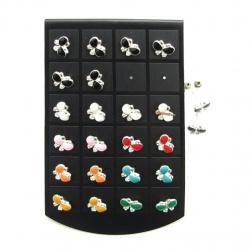 Обеци метал цветни с кристал пеперуда2 13x10 мм