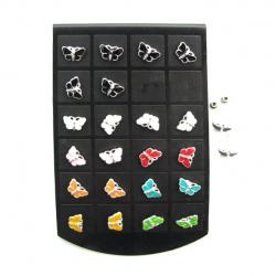 Обеци метал цветни пеперуда 12 мм