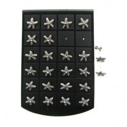 Обеци метал с кристали звезда 12 мм
