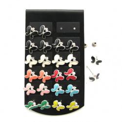 Обеци метал цветни с кристал пеперуда3 10 мм