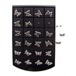 Обеци метал с кристали пеперуда 13 мм