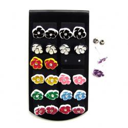 Обеци метал цветни с кристал