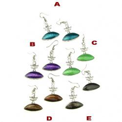 Обеци метал цветни кристали