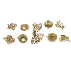 Обеци метал цвят злато кристали 20~28x12~18x9~13 мм АСОРТЕ
