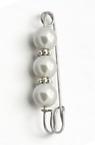 Брошка метал цвят сребро стъклени перли 10 мм 50x14 мм бяла