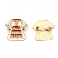 Брошка метал с кристали и боя 20x23 мм цвят злато носия