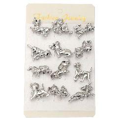 Брошка метал с кристали 26x24 мм цвят сребро куче