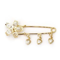 Брошка секретна игла метал с кристали 75x25 мм цвят злато цвете