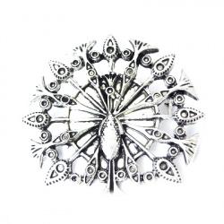 Брошка метал паун 43x46 мм цвят сребро
