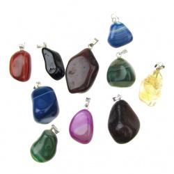 Висулка естествен камък АСОРТЕ цветове 16~31x13~18x6~15 мм