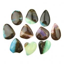 Pandantiv piatră naturală AGATE ASSORTE culori și forme 32 ~ 39x39 ~ 47x6 ~ 7 mm