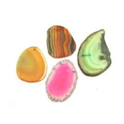 Pandantiv agate din piatră naturală forme și culori asortate 28 ~ 43x40 ~ 55 mm