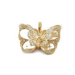 Висулка метална с кристали пеперуда 49x50x11 мм дупка 8x5 мм цвят злато