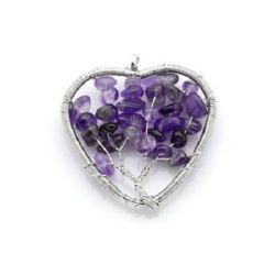 Amethyst natural stone pendant and metal 48 ~ 51x48 ~ 49x6 ~ 8 mm