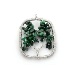 Malachite charm 52 x 40 x 6 mm