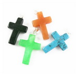 Natural stone Pendant  ASSORTED cross 25x17 ~ 18x5 ~ 7 mm