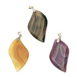 Висулка естествен камък АХАТ цветове листо 48~51x27~30x6 мм дупка 7x4 мм