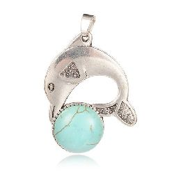 Pendant natural stone TURQUOISE 44x34x7 mm dolphin hole 4x7 mm