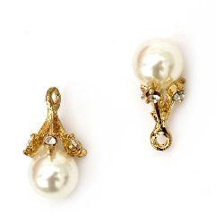 Висулка метална с кристали и перла ABS бяла 24x12 мм дупка 1.5 мм цвят злато
