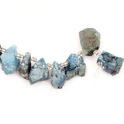 Мънисто естествен камък АХАТ друза галванизиран оцветен син 22~37x14~17x17~21 мм дупка 1.5 мм -1 брой