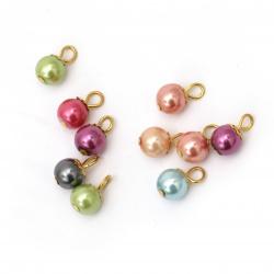 Висулка перла 8 мм дупка 2 мм цвят асорте -10 броя
