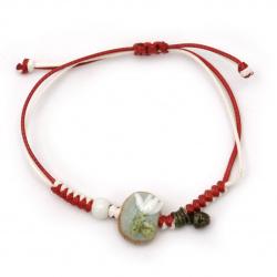 Βραχιόλι, βαμβακερό κορδόνι  με πορσελάνινες χάντρες  και φυσικές πέτρες -10 τεμάχια