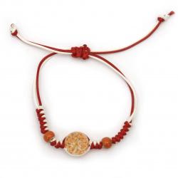 Гривна мартеница шнур памучен с мъниста порцелан и елемент с вградени естествени цветя оранжеви -10 броя
