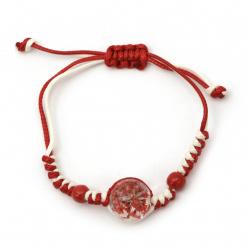 Гривна мартеница шнур памучен с мъниста порцелан и елемент с вградени естествени цветя червени -10 броя