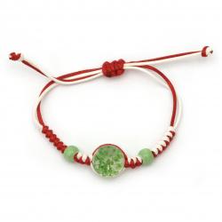 Гривна мартеница шнур памучен с мъниста порцелан и елемент с вградени естествени цветя зелени -10 броя