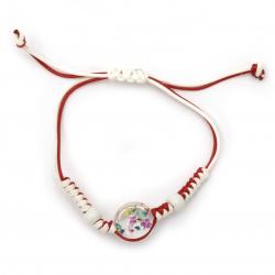 Гривна мартеница шнур памучен с мъниста порцелан и елемент с вградени естествени цветя цветни -10 броя