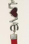 Гривна мартеница кожа изкуствена метална плочка LOVE 6 броя