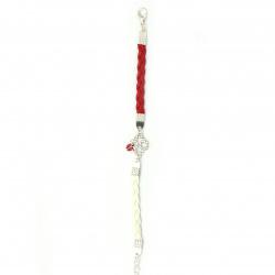 Bratara martisor din piele trifoi artificial cu gargarita metal cu cristale -12 bucăți