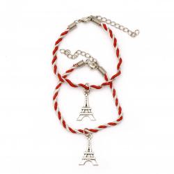 Гривна мартеница шнур висулка Айфелова кула за двама -6 броя
